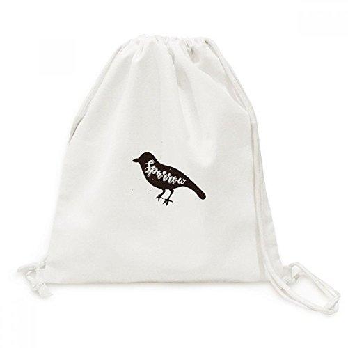 DIYthinker Sparrow Schwarzweiß-Tier-Leinwand-Rucksack-Reisen Shopping Bags