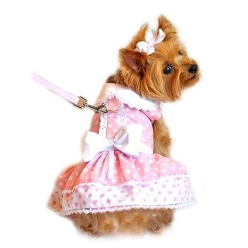 DOGGIE DESIGN Pink Polka Dot and Lace Dog Harness Dress Set XS