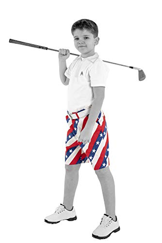 Royal & Awesome Kids Pars and Stripes Bright Golf Shorts - Large Age 12-13 Years