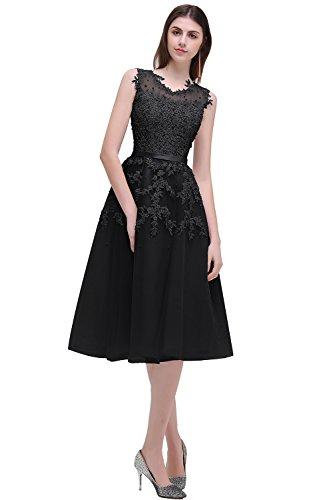 MisShow Damen A-Linie Ballkleid Spitzenkleid Cocktailkleid Cap Sleeves Kleid lang Festlich Kleid Knielang GR. 38