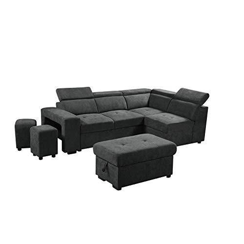 Lilola Home Henrik Dark Gray Sleeper Sectional Sofa with Storage Ottoman and 2 Stools