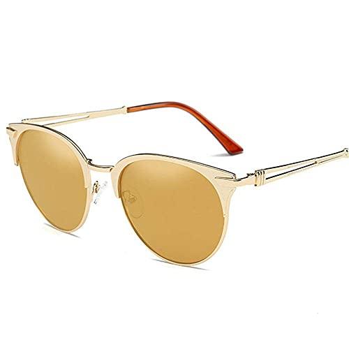 DealMux Gafas de sol Gafas de sol unisex de moda Protección UV Vacaciones Gafas de sol polarizadas Conducción Marco de metal Motoring Angel Gafas de sol (Color: Tea, Size: Free Size)