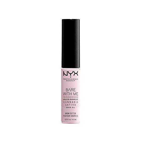NYX Professional Makeup Fijador de Cejas Bare with Me, Para dar Forma, Fijación Suave a Firme, Aceite Acondicionador de Semillas de Cáñamo, Acabado Transparente