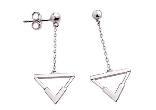 PNJ Cam-Orecchini triangolari a perno in argento Sterling con pendenti a goccia, placcati in oro bianco 18 k, spediti in una lussuosa confezione regalo