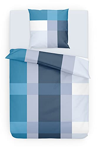 Träumschön Renforce Bettwäsche 135x200 Baumwolle | Bettwäsche Blau Weiß | Bettwäsche Sommer 135x200 cm Baumwolle | Ideale Sommer Bettwäsche