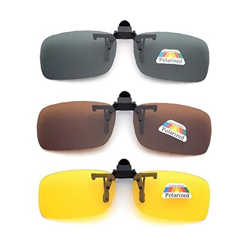 RRunzfon Frame-Menos 3 PCS Unisex UV400 Lente polarizada rectángulo Lente tirón Encima del Clip en Gafas de Sol de la prescripción de anteojos de visión Nocturna de los vidrios