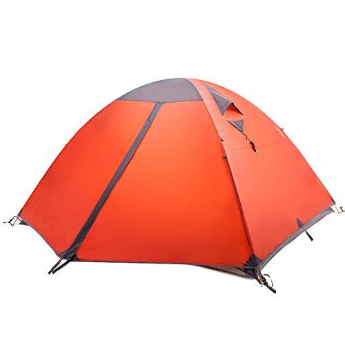 XMH Tente De Camping, Tente Double Couche en Aluminium pour 3 Personnes, Tente De Camping Super Grande 3 Saisons, Imperméable Et Coupe-Vent, Convient Aux Voyages, Au Camping, À La Randonnée,Orange