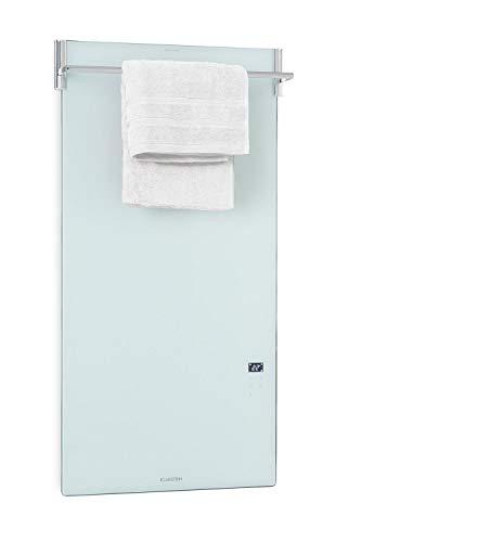 Klarstein Hot Spot Crystal Spotless Smart - Calefactor infrarrojo, 59 x 112 cm, 750 W, IR ComfortHeat, Control por app a través del wifi, Instalación en pared, Barra para toallas abatible, Blanco