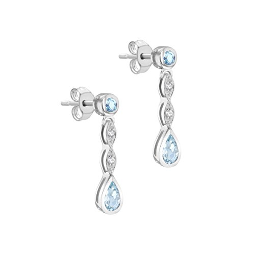 Carissima Gold 9ct White Gold Diamond and Aquamarine Drop Earrings
