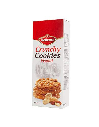 Hellema Crunchy Peanut Cookies Pinda Koekjes – Koeken Gegarneerd met Hoogwaardige Pinda's – 175 gram doosje