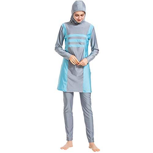 DONTAL Women Islamic Muslim Bathing Suit with Cap Printing Swimsuit Beachwear Women Swimwear Gray