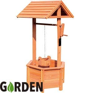 Scotrade Garden Wooden Wishing Well Planter Outdoor Ornament Rotating Handle.