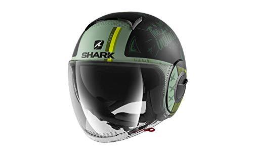 SHARK NC Casco per Moto, Hombre, Negro/Verde, M