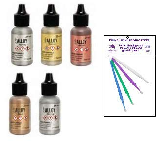New Ranger Tim Holtz Alloy Bundle - Set of 5 Alloy Inks (Statue, Mined, Gilded, Foundry, Sterling) with PTP Flash Deals Blending Sticks