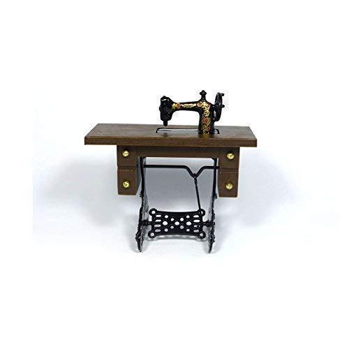 Dolls House alte Tret-Nähmaschine Holz/Metall 1:12 für Puppenhaus