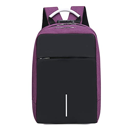 Suytan Anti Theft Laptop Backpack Bag with USB Charging Port,Water Resistant College School Computer Bag Daypack for 15 inch Laptop and Notebook for Work,Purple,Purple