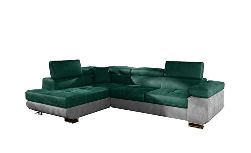 MOEBLO Ecksofa mit Schlaffunktion mit Bettkasten Couch L-Form Polstergarnitur Wohnlandschaft Polstersofa mit Ottomane Couchgranitur - ALESIO (Grün+Hellgrau (Monolith37+Monolith 84), Ecksofa Links)