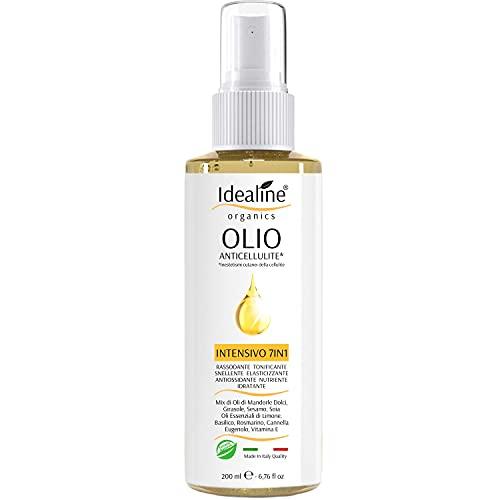 Bio Olio Anticellulite INTENSIVO 7in1 Trattamento Naturale per Cellulite e Smagliature con Olio di Mandorle Dolci Oli Essenziali Vitamine 200ml Idealine