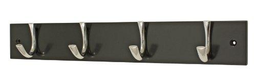 Headbourne Hr1634H Moderne kapstok met 4 chromen haken op een zwarte houten plank