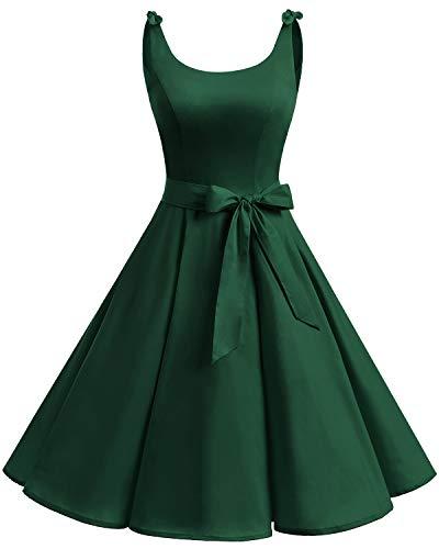 Bbonlinedress 1950er Vintage Polka Dots Pinup Retro Rockabilly Kleid Cocktailkleider Dark Green L