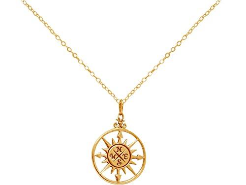 Gemshine Maritim Nautics Halskette mit Windrose Kompass aus 925 Silber, hochwertig vergoldet oder rose im Navy Stil – Made in Madrid, Spain, Metall Farbe:Silber vergoldet