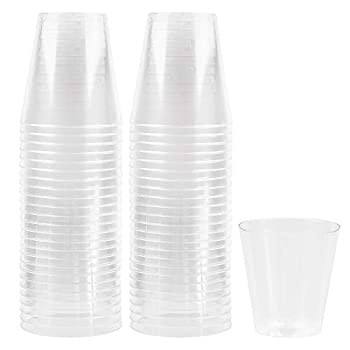 Plasticpro 1 oz Shot Glasses Crystal Clear Disposable Hard Plastic Shot Cups - Tumblers Great for Whiskey Jello Shots Tasting Sauce Dips Samples Pack of 50