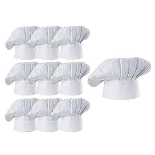 Hyzrz Chef Hat Set of 10 PCS Pack Adult Adjustable Elastic Baker Kitchen Cooking Chef Cap, White