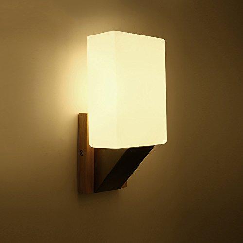Pointhx Metall Wandleuchte Modern Minimalist Holzfuß Wandleuchte Rechteckig Glas Lampenschirm Wand Laterne LED E14 1-Licht Schlafzimmer Wohnzimmer Wandleuchte Lichter