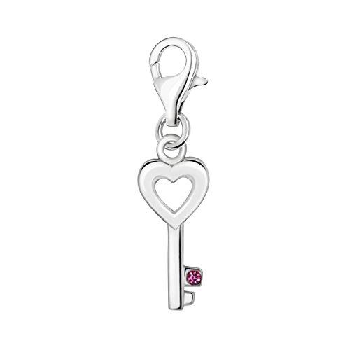 Quiges Charm Anhänger Rosa Zirkonia Herz Schlüssel 925 Silber mit Karabinerverschluss für Bettelarmband