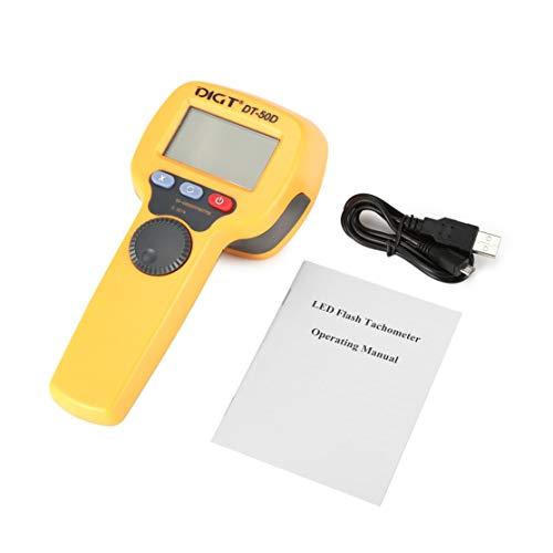 DIGT DT-50D 7.4V 1100mAh 60-49999 Luces estroboscópicas/min 750LUX Handheld LED Estroboscopio Medición de velocidad de rotación Velocímetro de flash Kaemma amarillo