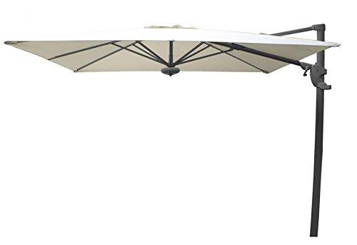 PEGANE Parasol déporté carré Coloris Naturel 260x260 cm
