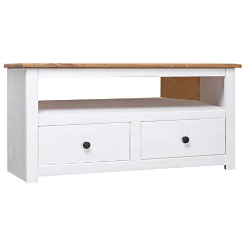 FAMIROSA TV-Eckschrank Weiß 93 x 55 x 49 cm Massivholz Panama-Kiefer