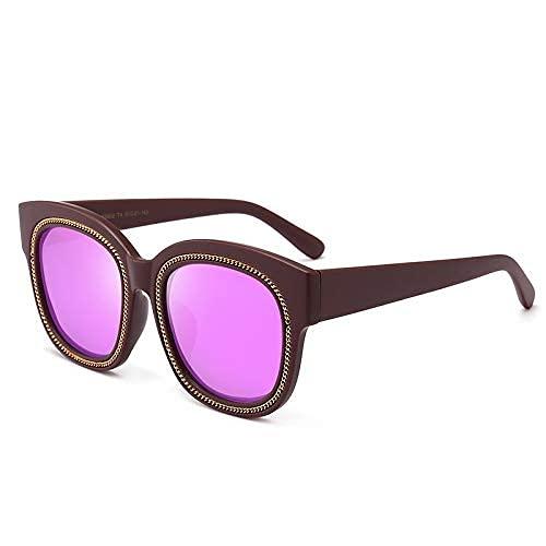 LAMZH Gafas de Sol de Moda de la Moda Gafas de Sol de la Moda Gafas de conducción Decoradas Cuerda de Metal Caja Grande Caja Grande Vagas polarizadas También Accesorios (Color : No.3)