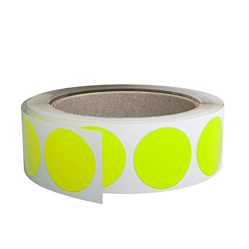 Royal Green - Rotolo di etichette adesive circolari 38 mm, colore giallo fluo, confezione da 600