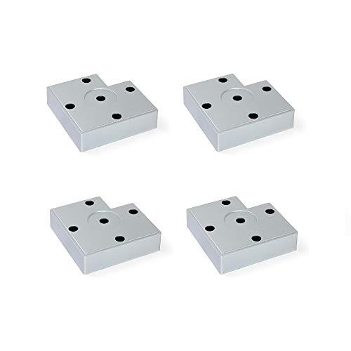 Emuca 2023025 Möbelbeine, Möbelfüße aus Metallic Kunststoff, Set aus 4 Füßen höhe 15mm, Metalic-Grau
