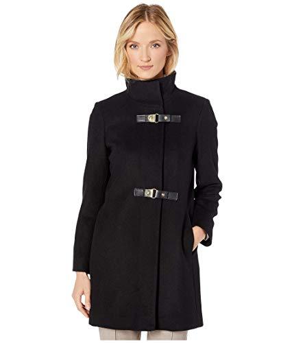 LAUREN RALPH LAUREN Double Buckle Wool Coat Black 10