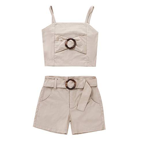 JERFER Kleinkind Kinder Baby Mädchen Mode Sommer Bogen Weste Tops + Shorts Outfits Einstellen