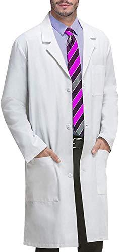 Matchwill Bata de Laboratorio/MédicoTrabajo Abrigo, Mujeres,niños, niñas y Hombres, Enfermera, Unisex Vestido de algodón para Estudiantesde la Escuela,quimica Ciencia,Cosplay (Hombre (Blanco), S)