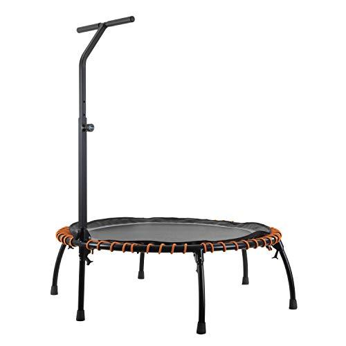 MotionXperts Minitrampolin Ø 113 cm mit höhenverstellbarer Haltestange, Indoor Trampolin mit Bungee-Seil-System, Füße klappbar, belastbar bis 125 kg