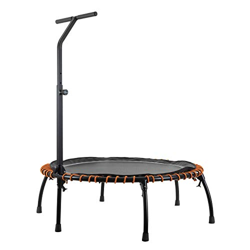 MotionXperts Minitrampolin Ø 113 cm mit höhenverstellbarer Haltestange, Indoor Trampolin mit Bungee-Seil-System, Füße klappbar, belastbar bis 150 kg