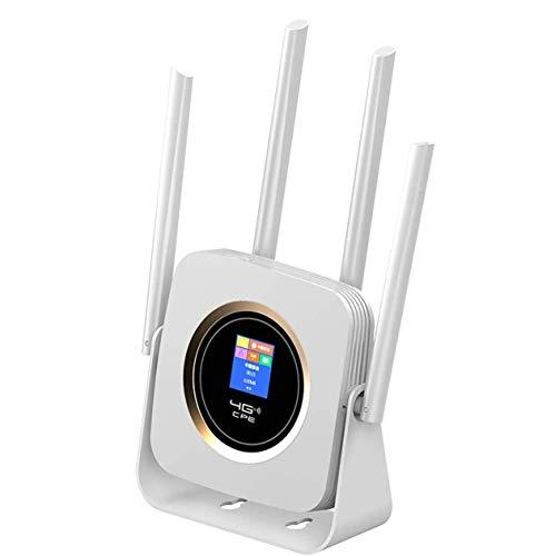 KuWFi Enrutador 4G portátil, Enrutador Wi-Fi móvil 4G de 300 Mbps Cat 6 Enrutador WiFi LTE CPE de Alta Velocidad Soporte de Antena Externa Acceso UMTS/HSPA/LTE y 32 usuarios Uso simultáneo