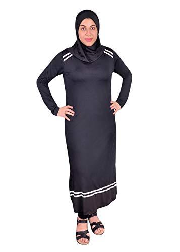 Egypt Bazar Ganzkörper islamischer Badeanzug im Burkini Stil muslimischer Schwimmanzug Hijab (44-46 (L), Schwarz)