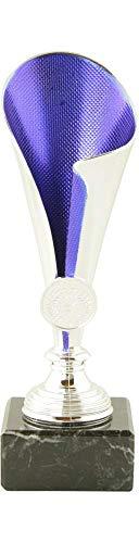 Mini Pokal Award Alabama inkl. hochwertigen Alu-Gravurschild mit Wunschtext (Silber-blau, 21 cm)