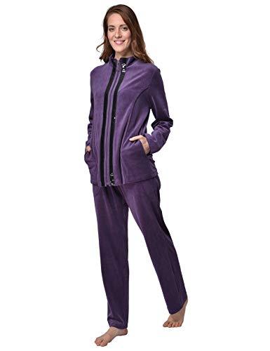 DeSen Damen Deluxe Velours Nicki Freizeitanzug Hausanzug Nicki-Anzug mit Reißverschluss und Pailletten-Leisten(Dunkel Lila,40/42)