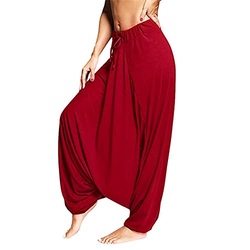 N\P Mujer Pantalones Drop Crotch Baggy Pierna Ancha Hippy Boho Sueltos