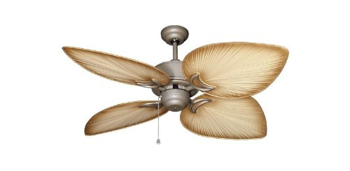 "Bombay Tropical Ceiling Fan in Antique Bronze with 50"" Tan Blades"