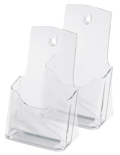 SIGEL LH313 Porta-folletos de sobremesa acrylic, con 1 compartimento, Material acrílico, para DL, 2 unds.
