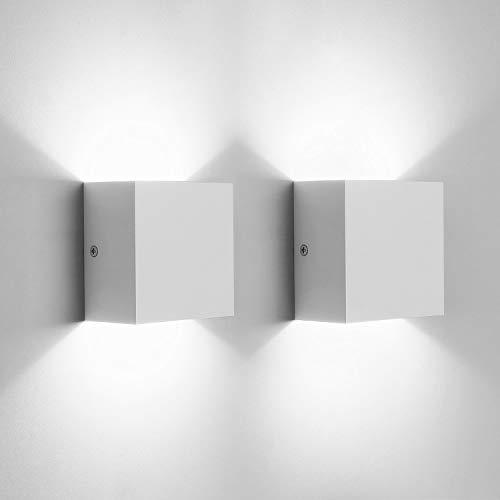 Glighone Apliques Pared Interior, 2 piezas Lámpara de pared Dormitorio Moderna Blanco LED Arriba Abajo Lámpara para Dormitorio Escalera Sala de Estar, 6W * 2, Blanco Frío