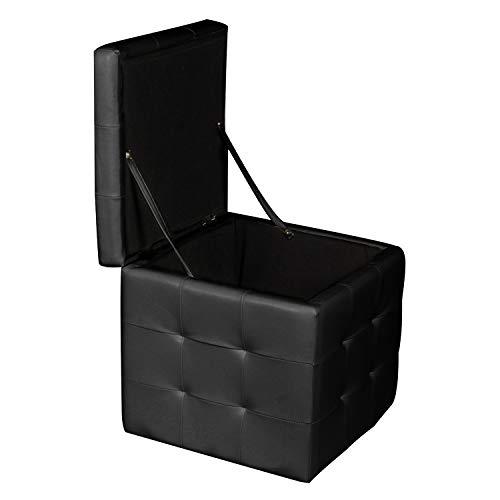 Dmora Pouf-contenitore in ecopelle, colore nero, cm 45 x 47 x 45, Small