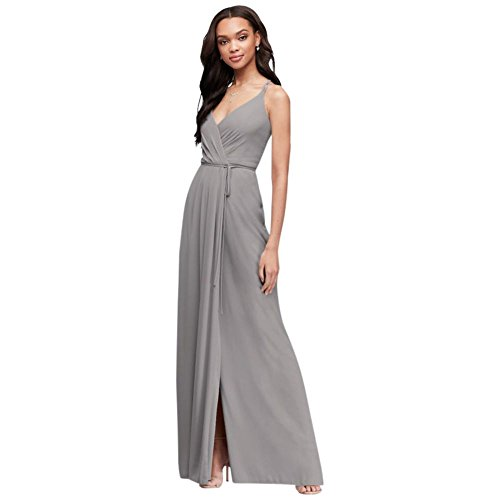 David's Bridal Double-Strap Long Georgette Bridesmaid Wrap Bridesmaid Dress Style F19755, Mercury, 8